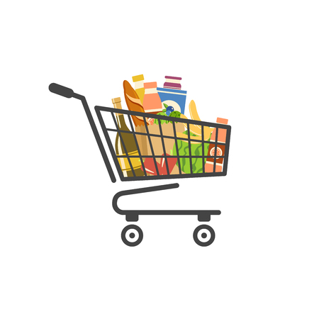 Shopping cart filled with food isolated vector