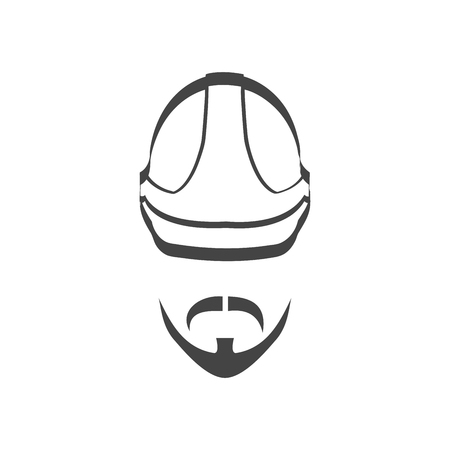 Builder helmet with mustache and beard isolated logotype icon Stok Fotoğraf - 106235865