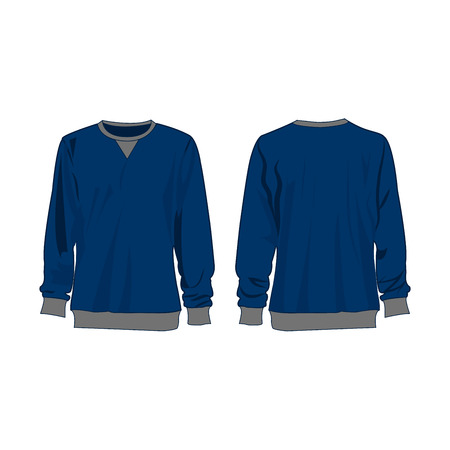 Classic blue sweatshirt isolated vector front and back for promotion advertising