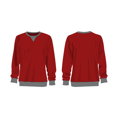 Classic dark red sweatshirt isolated vector front and back for promotion advertising Stok Fotoğraf - 122591817