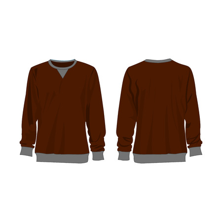 Classic brown sweatshirt isolated vector front and back for promotion advertising Stok Fotoğraf - 122591818