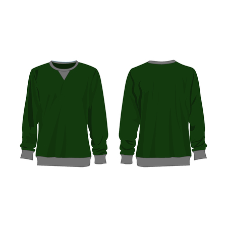 Classic green sweatshirt isolated vector front and back for promotion advertising