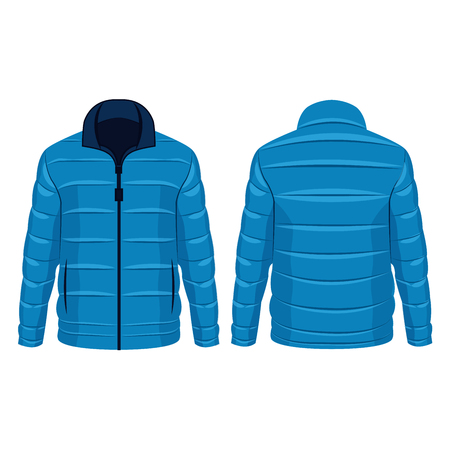 Blue winter down jacket isolated vector