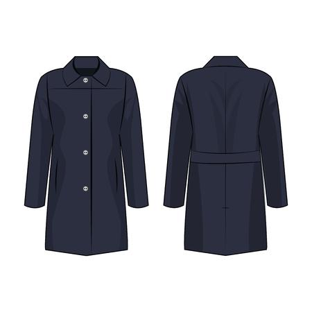 Navy blue autumn coat isolated vector on white background Illustration