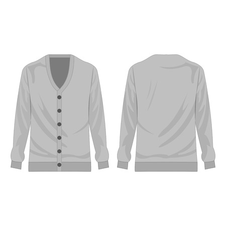 Light grey cardigan isolated vector on white background