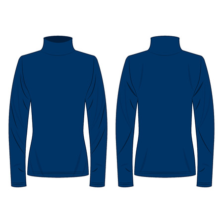 Blue polo neck isolated vector on the white background Çizim