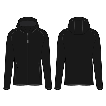 Black sport zipped jacket with hood isolated vector on the white background Illusztráció