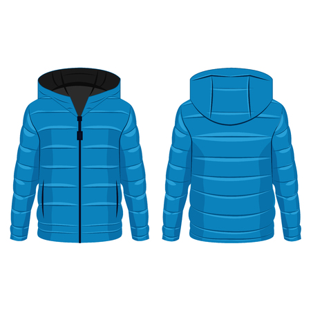 Baby blue winter down zipped jacket with hood isolated vector on the white background