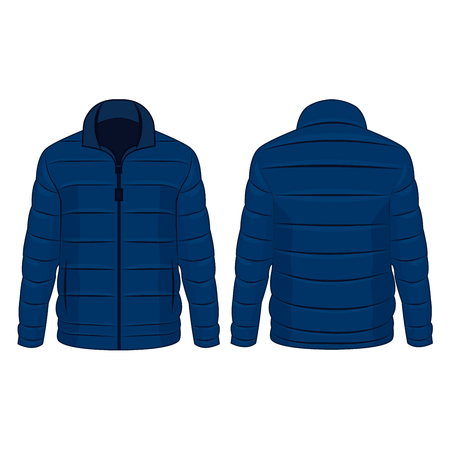 Blue winter zipped down jacket isolated vector on the white background Illustration