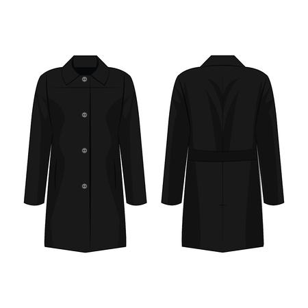 Black autumn coat isolated vector on the white background Illustration