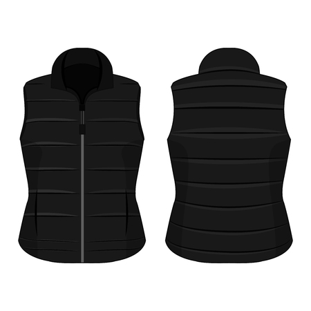 Black winter zipped vest isolated vector on the white background