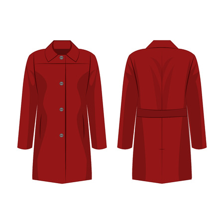 Dark red autumn coat with buttons isolated vector on the white background Çizim
