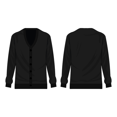 Black basic cardigan with buttons isolated vector on the white background