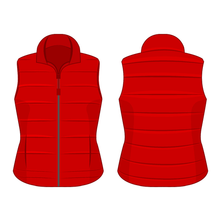 Red winter zipped vest isolated vector on the white background