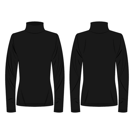 Black polo neck isolated vector on the white background Çizim