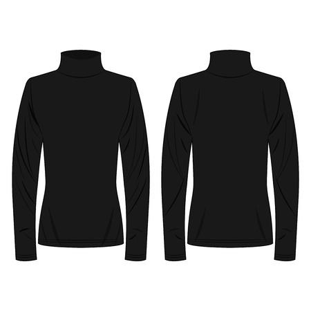 Vector aislado de cuello de polo negro sobre fondo blanco