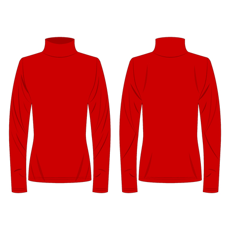 red polo neck isolated vector on the white background