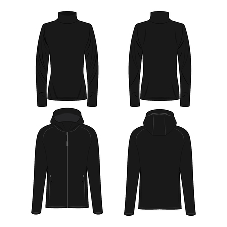 Black polo neck and sport jacket isolated vector set on the white background Çizim