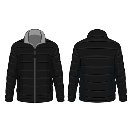 Black and grey winter zipped down jacket isolated vector on the white background