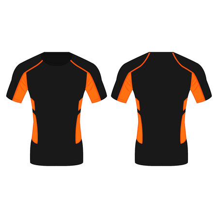 Black and orange running polyester t shirt isolated vector on the white background