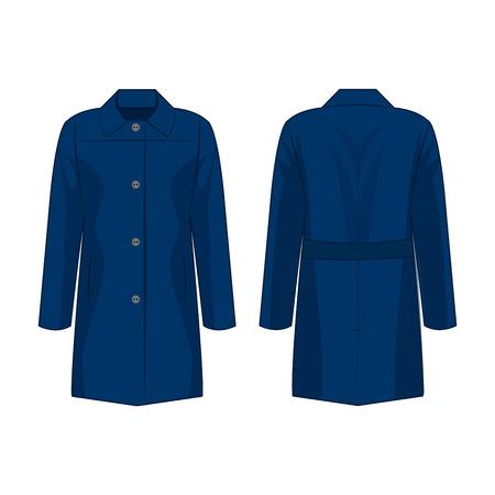 Blue autumn coat isolated vector on the white background Çizim