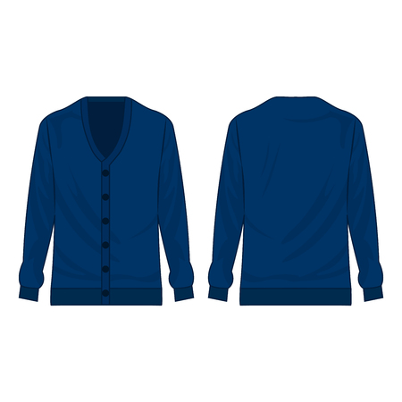 Blue basic cardigan with buttons isolated vector on the white background Stok Fotoğraf - 122591844