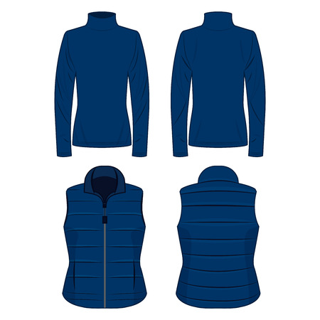 Blue polo neck and vest isolated vector set on the white background
