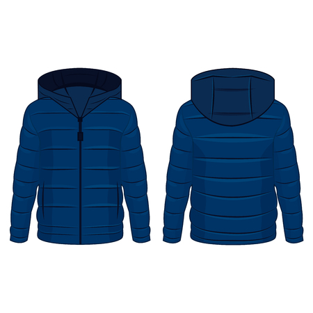 Blue winter down zipped jacket with hood isolated vector on the white background Illustration