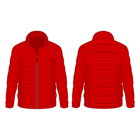 Red winter zipped down jacket isolated vector on the white background Çizim