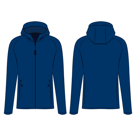 Blue sport zipped jacket with hood isolated vector on the white background Çizim