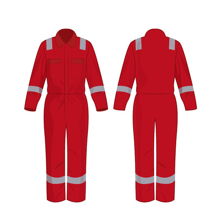 Red work overalls with safety band isolated vector on the white background Stok Fotoğraf - 122591851
