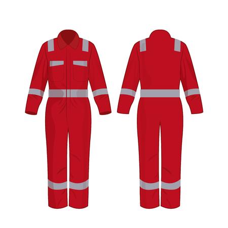 Monos de trabajo rojos con banda de seguridad vector aislado sobre fondo blanco.
