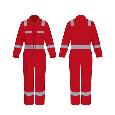 Red work overalls with safety band isolated vector on the white background Illustration