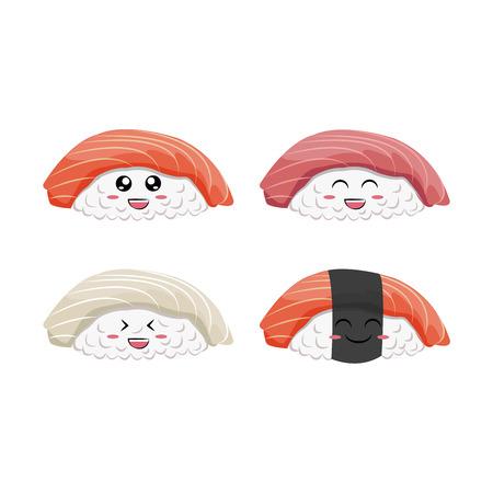 Cartoon sushi with fun smile isolated vector set on the white background Çizim