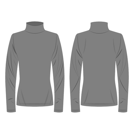 Grey polo neck isolated vector on the white background