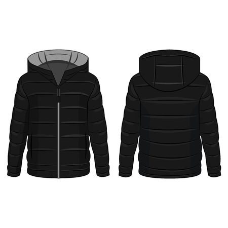 Black winter down zipped jacket with grey hood isolated vector on the white background Illustration