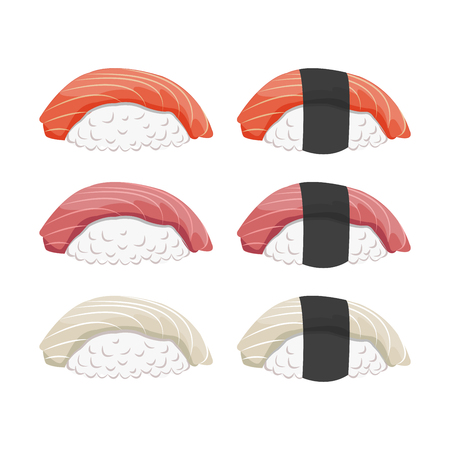 sushi isolated vector set on the white background