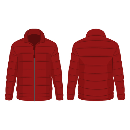 Dark red winter zipped down jacket isolated vector on the white background
