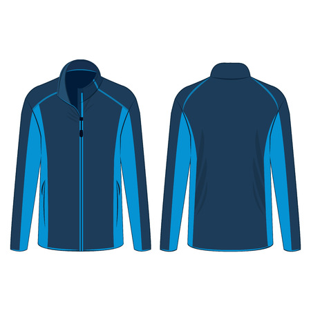 Navy light blue sport winter zipped fleece jacket isolated vector on the white background Çizim