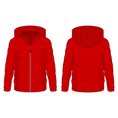 Red winter down zipped jacket with hood isolated vector on the white background Çizim