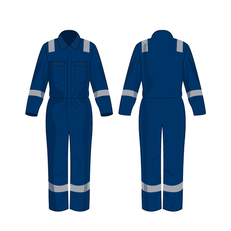 Blue work overalls with safety band isolated vector on the white background Stok Fotoğraf - 122591890