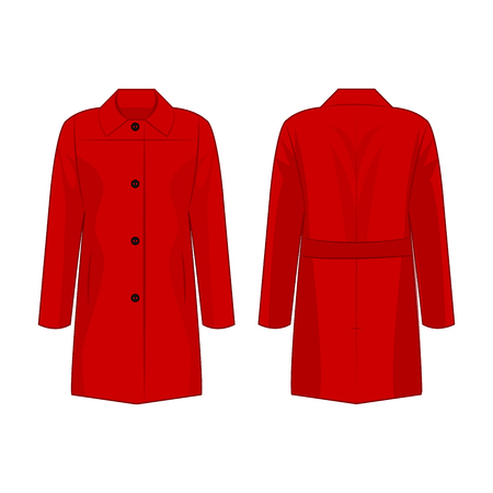 Red autumn coat isolated vector on the white background