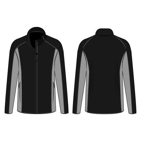 Black and grey sport winter zipped fleece jacket isolated vector on the white background 矢量图像