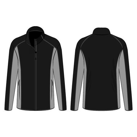 Vector aislado de la chaqueta de lana con cremallera de invierno de deporte negro y gris sobre el fondo blanco Ilustración de vector