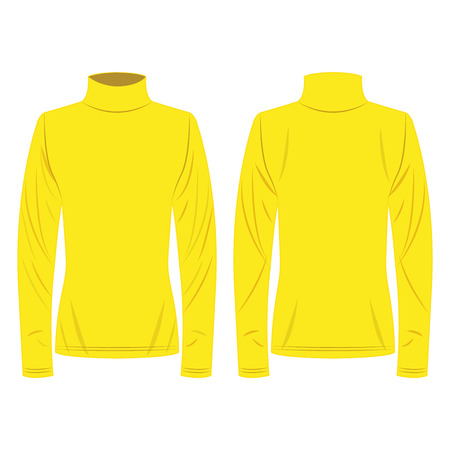 Yellow polo neck isolated vector on the white background