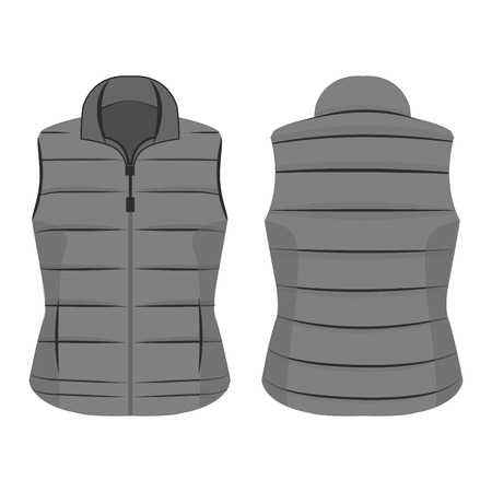 grey winter zipped vest isolated vector on the white background Banco de Imagens - 122591894