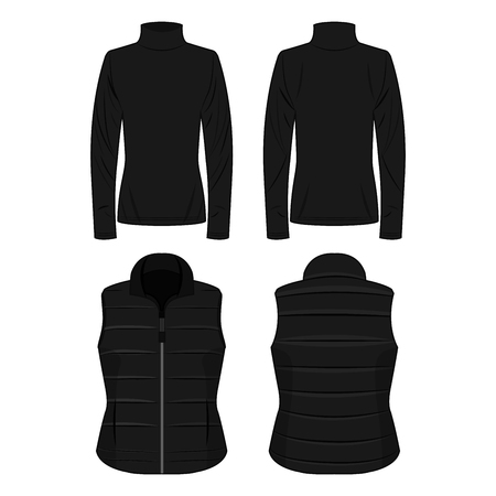 Black polo neck and vest isolated vector set on the white background Çizim