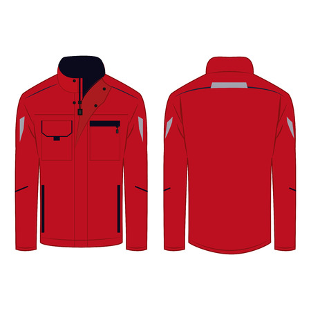 Work wear red jacket isolated vector on the white background Çizim