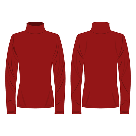Dark red polo neck isolated vector on the white background