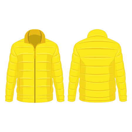 Yellow winter zipped down jacket isolated vector on the white background Illustration